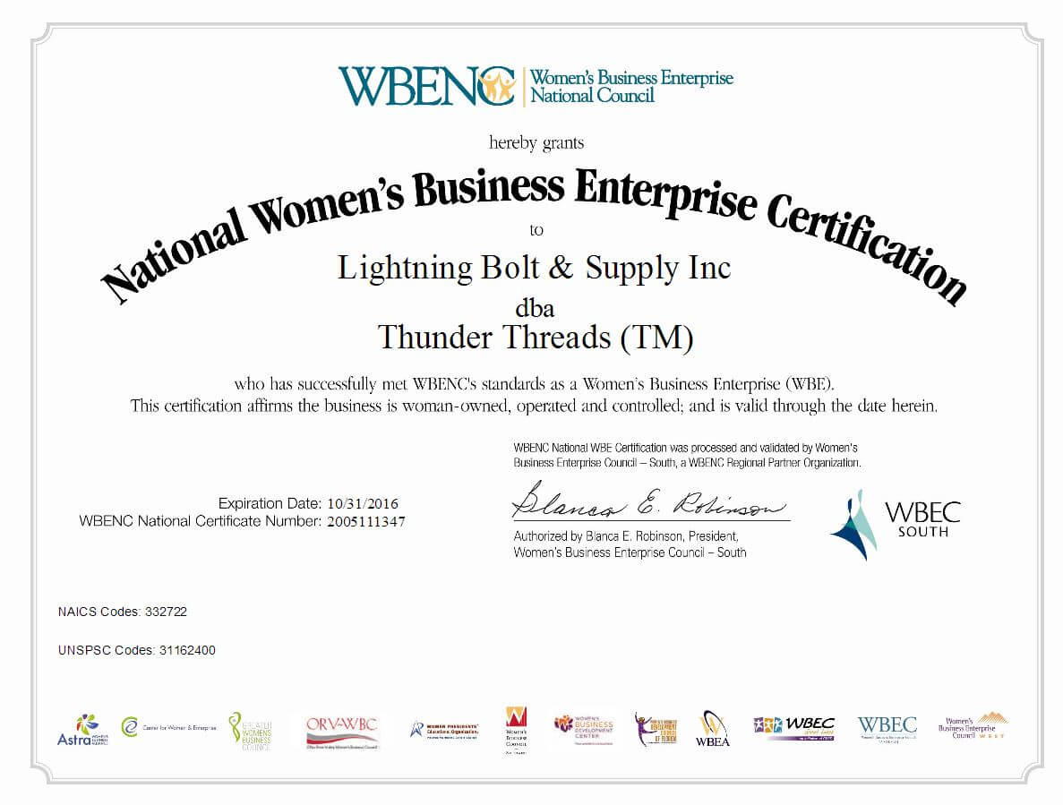 Lightning Bolt - Thunder Threads WBENC Certificate 2016
