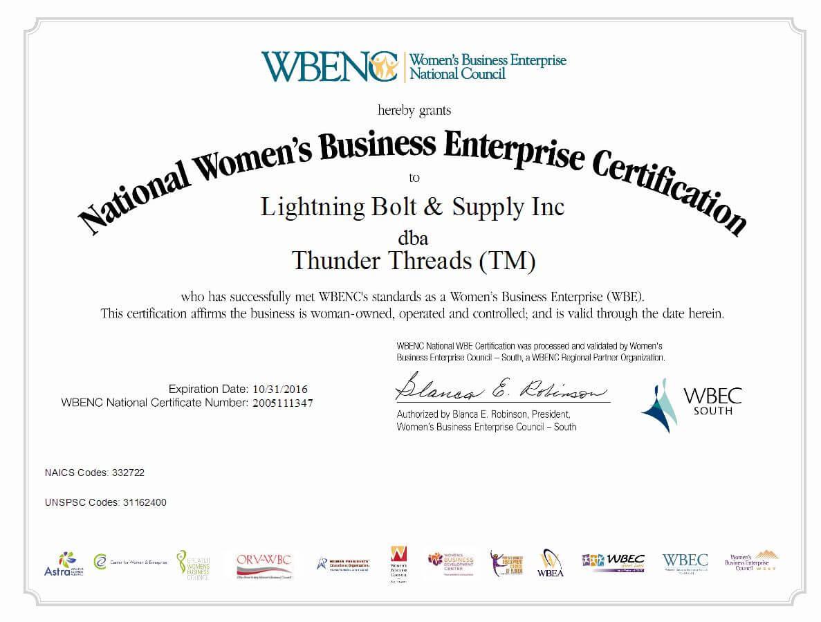 Lightning Bolt - Thunder Threads WBENC Certificate 2016