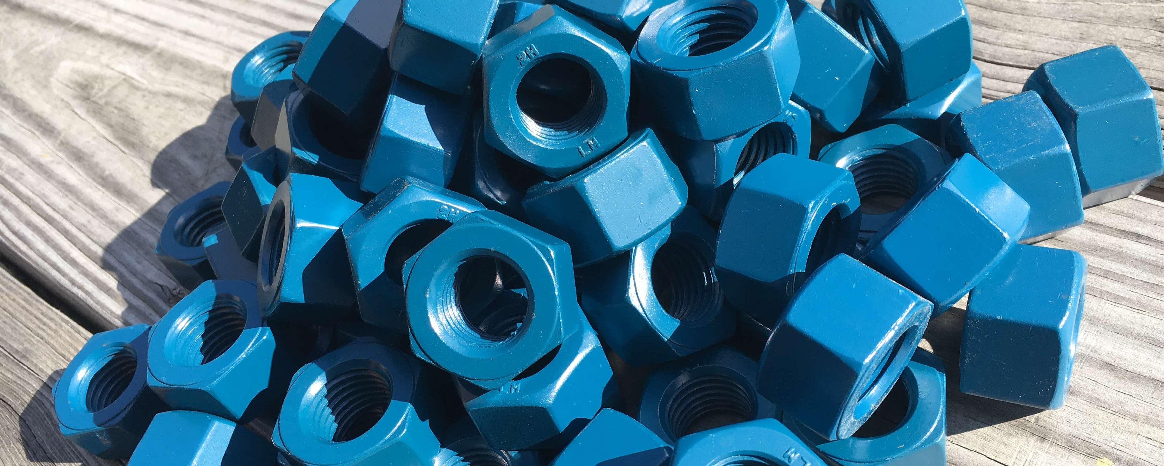 PTFE-Teflon Blue ASTM A-194 Grade 2H Nuts